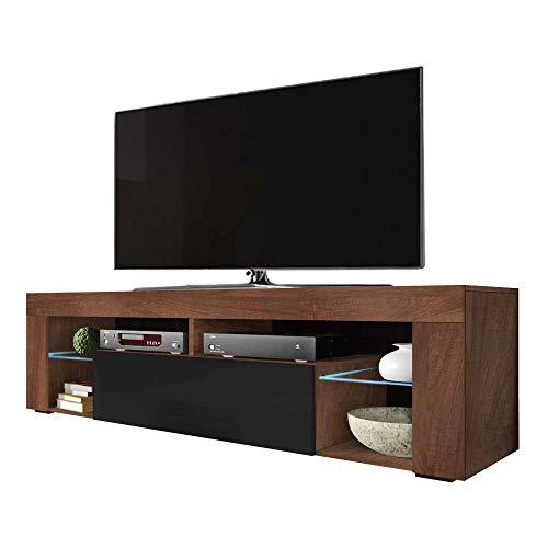 Selsey Hugo - TV-Lowboard/TV-Schrank in Holz-Optik Nuss Caravaggio mit Klappe in Schwarz Hochglanz mit LED-Beleuchtung Stehend 140cm