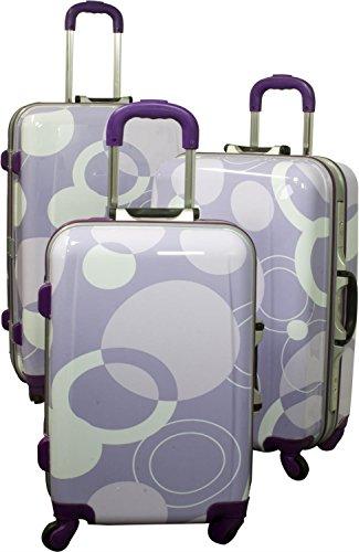 Extrem Stabiles ABS Kofferset | Stoßfest Zahlenschloss Leichtlauf-Fahrwerk mit vier 360° drehbaren, kugelgelagerten Rädern Bubbles/Violett