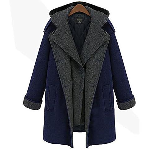 YUYU Señora gran tamaño con el casquillo largo espesado Mantenga caliente chaqueta de peluche , hide blue ,