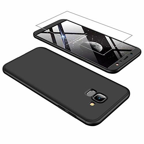 AILZH Samsung A6 2018 Hülle 360°Schutzhülle PC Hartschale Anti-Schock HandyHülle Anti-Kratz Stoßfänger 360 Grad Full-Cover Case Matte Schutzkasten+Gehärteter Glasfilm(Schwarz)