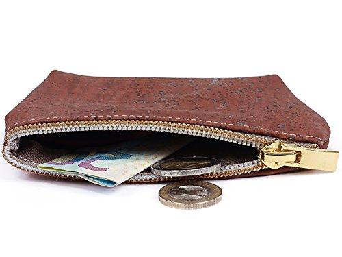SIMARU borsa portamonete / borsello portamonete in nobile sughero / cuoio di sughero, piccola borsa porta soldi con scomparto aggiuntivo per banconote e ricevute, portamonete in molti colori (marrone) porpora