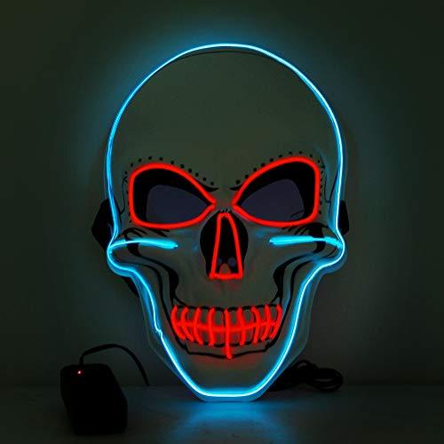 WuJun Halloween Maske LED Light Wire Cosplay Maske Purge Mask für Halloween Festival Cosplay Halloween Kostüm (Blau rot)