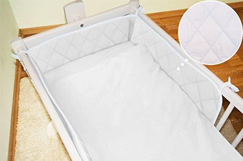 2Stück Baby Decke + Bumper-Set für 90x 40cm - Kinderbett Weiße Stoßstange Bettwäsche