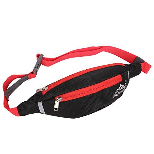 EVERGO bolso de cintura Riñonera mochilas de cintura para hombre o mujer al aire libre correr escalada deportes, negro