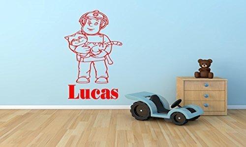 Feuerwehrmann Sam personalisierbar Kinder vinyl Wand Kunst-Aufkleber-3Größen-16Farben-FS2 - Med - 60 x 40 cm