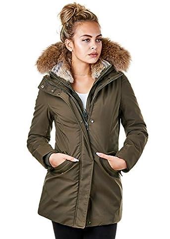 EightyFive Damen Parka Winter Jacke Echt Fell Kapuze Gefüttert Lang Pink Khaki Beige EF1837, Größe:L,