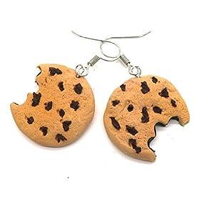 Angebissene gefüllte Schoko Keks Ohrringe handmade Plätzchen Gebäck Ohrhänger