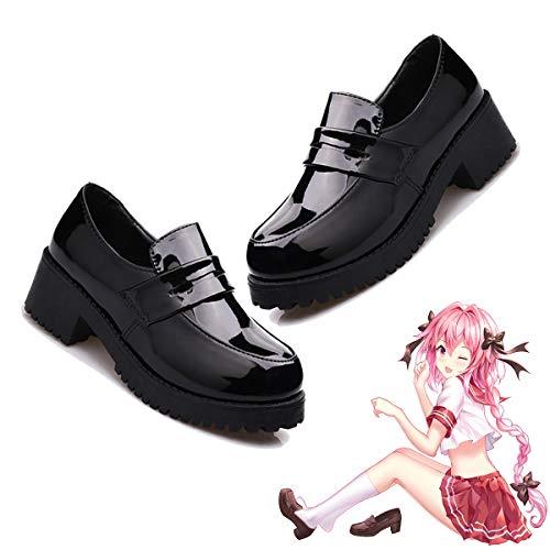 DuHLi Nette Lolita Mädchen Frauen Magd Stiefel Runde Kappe Leder Schuhe Japan JK High School Uniform Kawaii Turnschuhe Anime Cosplay,38