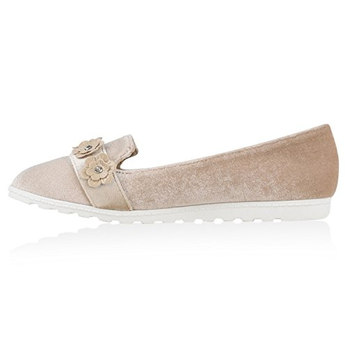 Damen Slipper Loafers Schleifen Glitzer Flats Profilsohle Schuhe Creme Velours Blumen