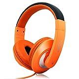 Mingfa casque de jeu réglable Over Ear Casque filaire Bass Écouteurs stéréo avec micro avec suppression de bruit Orange
