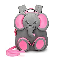 Schoolbag for Kindergarten Children, Animal-Pattern Backpack for Toddler Boys&Girls with Anti-Lost Leash, Meilo
