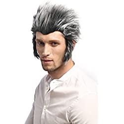 WIG ME UP ® - 91334-ZA63ATZA103 Peluca hombres Carnaval Halloween tormenta; hombre lobo Wolfman, gris y negro, patillas cardar algo