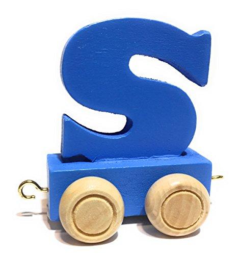 bunte Lok - farbige Waggons | Wunschname zusammenstellen | Holzeisenbahn | EbyReo® Namenszug aus Holz | personalisierbar | auch als Geschenk Set (Farbe Blau, Buchstabe S) ()