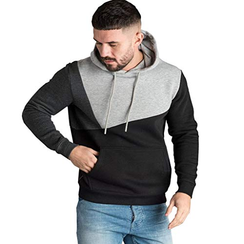 Ncenglings Herren Hoodie Herbst Winter Kleidung Warm Sweatshirt Mode Patchwork Kapuzenpullover Basic Tunnelzug Pullover Freizeit Outwear Taschen Slim Fit Mantel Elegant Bequem Trainingsanzug
