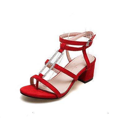 LvYuan Da donna-Sandali-Formale Casual-Altro-Quadrato-Felpato-Nero Rosa Rosso Black