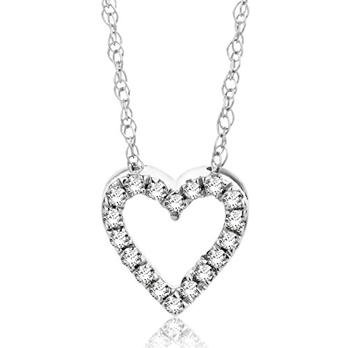 c0e2d744414b Orovi Collar Señora Corazón con cadena en Oro Blanco con Diamantes Talla  Brillante 0.08 ct Oro