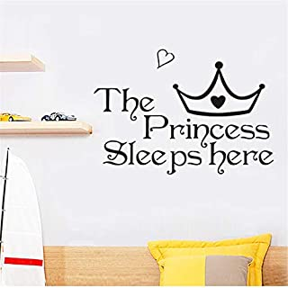 Suuyar Die Prinzessin Schläft Hier Schwarze Wandaufkleber Für Kinderzimmer Schlafzimmer Home Decor Vinyl Wandtattoos Kunst Mädchen Geschenke