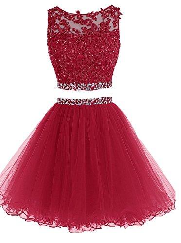 CoutureBridal® Kleid Kurze Wulstige Abendkleid Tulle Applique Brautjungferkleid ParteiKleid Weinrot