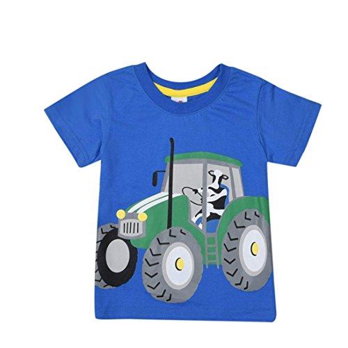 kinderkleidung,Yanhoo TX-D50044 Kinder Kurzarm Cartoon Traktor/Fahrrad/Dart/Krokodil Print T-Shirt (2 Jahre ~8 Jahre) (Blau D, 120) (Neugeborenen Traktor Kleidung)