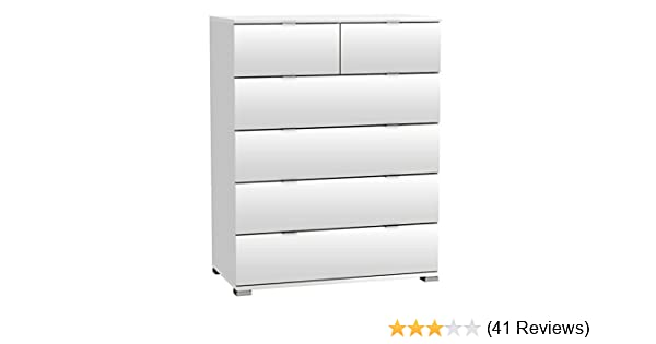 Kommode weiß B 80 cm 4 Schubladen Schlafzimmer Aufbewahrung Standschrank B-Ware