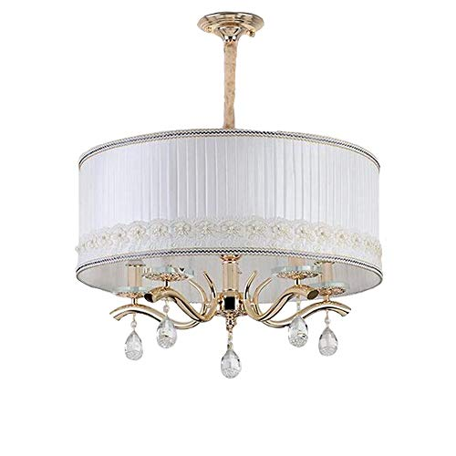 GENGJ Chandelier Ceiling Light Nickel Metal Leaf Real Crystal Pendant Round White Fabric Shadow, Lamp Holder 6XE14 -