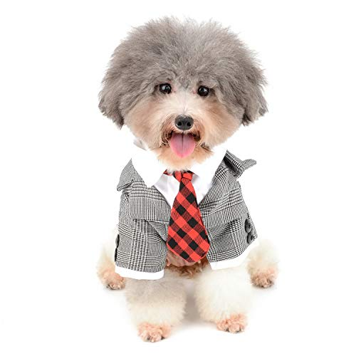 Tail Schwarz Katze Kostüm - Zunea Kleiner Hund Tuxedo Kostüm Hochzeit Bräutigam Dapper Anzug kariert Puppy Kleidung Hemd mit Krawatte Formale Pet Cat up Party Kleid Apparel