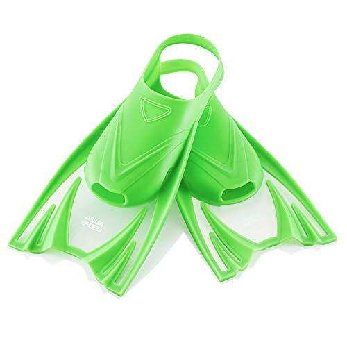 Aqua Speed Training Flossen für Kinder I Kurze Schwimmflossen I Kurzflossen Schwimmen Mädchen Jungen I Swimming Flippers Kids I Taucherflossen I Schnorcheln I Grün, Gr. 30-34 (M) I Frog