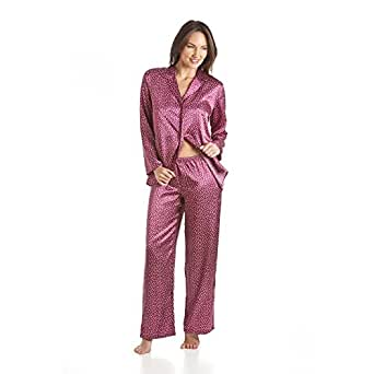 pyjama en satin chemise manches longues et pantalon motif pois rouge 38 camille amazon. Black Bedroom Furniture Sets. Home Design Ideas