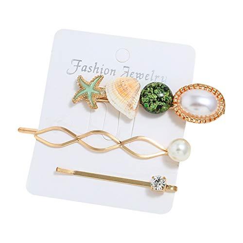 Lifet 3Pcs Shell Haarspangen Haar Pins Muschel Gold Haarnadeln Hochzeit Perle Haarnadel Kopfschmuck Haarschmuck Für Mädchen Und Damen -