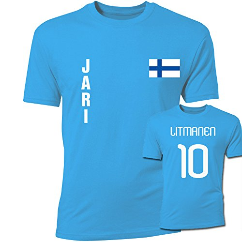 Jari Litmanen Finland Flag T-Shirt (Sky Blue) (Adult Flag T-shirt)
