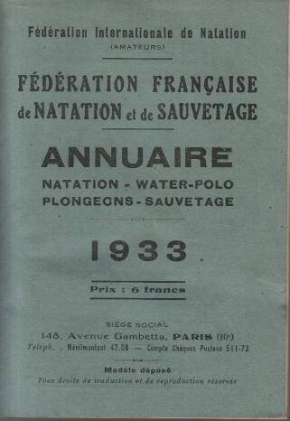 Federation francaise de natation et de sauvetage 1933