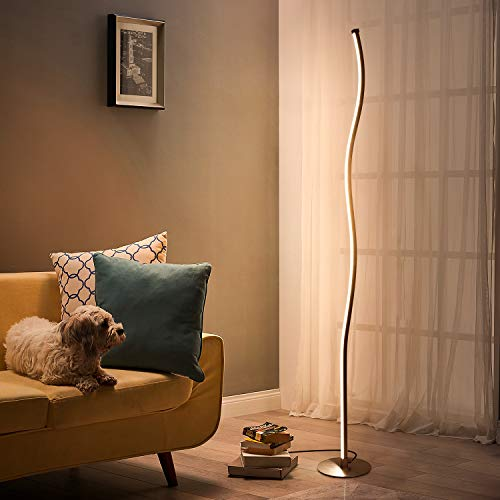 Albrillo Design LED Stehlampe Dimmbar - Touch Control Stehleuchte aus Metall, 18W Wellenförmige Moderne Standlampe mit Fußschalter, Warmweiß 3000K, Perfekt für Schlafzimmer, Wohnzimmer, Esszimmer