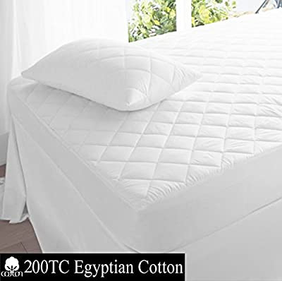 Superior 200TC 100% Egyptian Cotton Quilted Mattress Protector / Pillow Protectors All Sizes