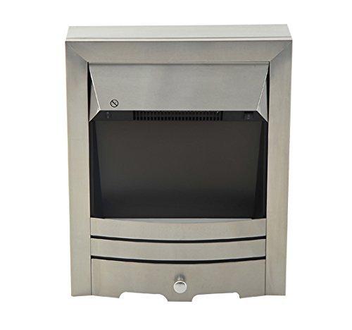 Homcom – camino elettrico potenza 1000w/2000w in ferro e acciaio inox 48.2 × 16 × 59.2cm