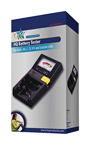 HQ BAT-TESTER5 Batterietester für AAA, AA, C, D, 9 Volt Batterien  schwarz