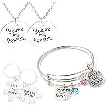 mikini Mujer Hombre Silvery Retro Jewelry Set/6–Grabado palabras You Are My persona ajustable colgante collares y pulseras de cable & Llavero–Llavero para valentines Amigos