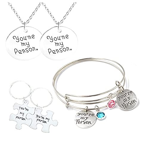 MIKINI Womens Mens Silvery Retro Jewelry Set/6pcs - Engraved Words You Are My Person Adjustable Wire Bracelets & Pendant Necklaces & Key Ring Keychain - for Valentines