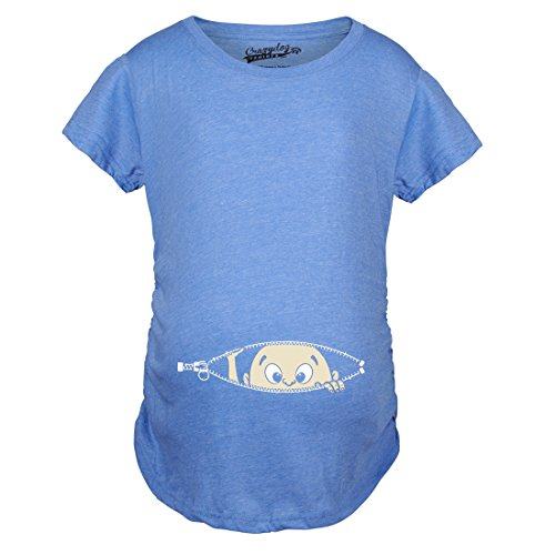 Maternity Baby Peeking T Shirt Funny Pregnancy Tee for Expecting Mothers (Heather Blue) - M