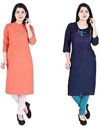 Navya Creatoion Womens Cotton Solid Straight Kurti (Pack Of 2)