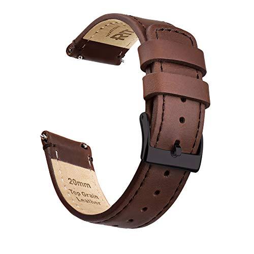 Ritche Uhrenarmband mit Schnellverschluss aus genarbtem Leder, Breite 18 mm, 20 mm oder 22 mm, Herren, Dark Brown-Black Buckle, 18MM