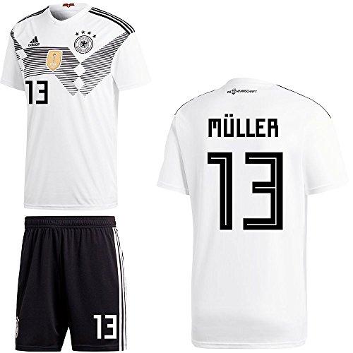 Adidas DFB Set Home Trikot und Hose WM 2018 Herren Kinder mit Spieler Name Farbe Müller, Größe 176