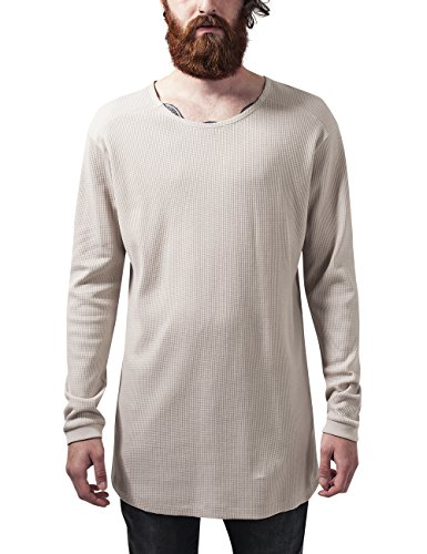 Liebe Long Sleeve Thermal (Urban Classics Herren T-Shirt Long Shaped Waffle L/S Tee, Elfenbein (Sand 208), XX-Large)