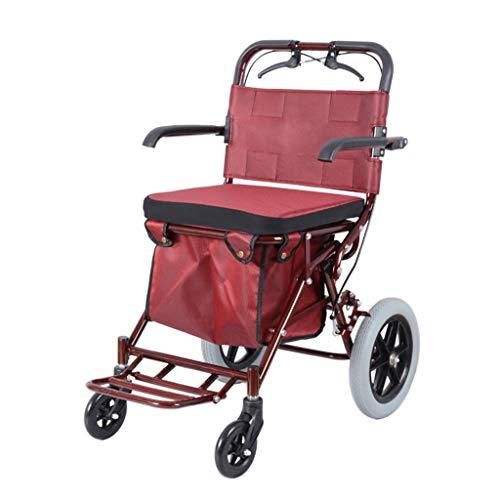 Rollwagen Alter Einkaufswagenwarenkorb des Haushalts Einkaufswagenwarenkorb kann geschoben Werden um zu sitzen tragbarer vierrädriger Roller faltbar Rollwagen (Color : Red, Size : 40 * 75 * 90cm)
