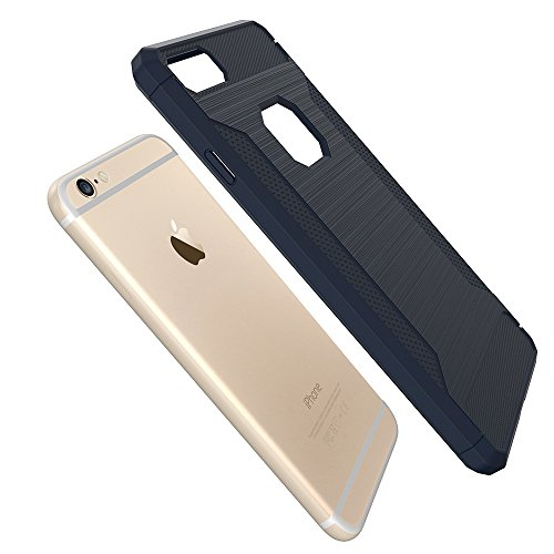 Custodia per iPhone 6 Plus,per iPhone 6S Plus Cover, ZCRO Semplice Stile Flessibile Custodia Silicone Carbonio Antiscivolo TPU Gomma Morbida Bumper Protettiva Antiurto Resistente Case Cover per iPhone Blu scuro
