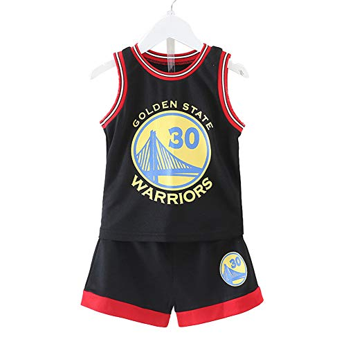 Kleine Jungen Basketball Jersey #30 Basketball Jersey for Men Retro Gym Vest Sports Top Shorts Set,Schwarz,XXS