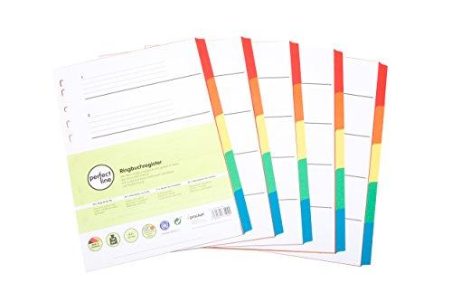 perfect line 5er Pack 5-teiliges DIN-A4 Register farbig (5x5), mit Deckblatt, Farb-Register-Trenner aus Karton in 5 Farben, 160g/m², perfekte Trennblätter für die Ordner-Organisation im Büro