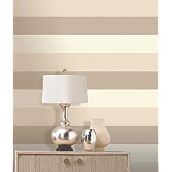 Olivia II 6161 - Papel para la pared a rayas, color ostra, crema y oro