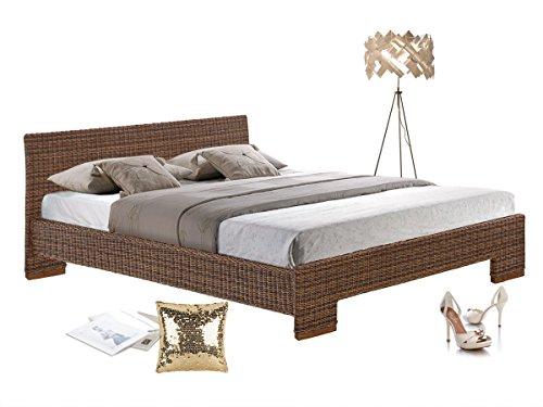 CAPRI Rattan Bett Doppelbett Bettgestell Bettrahmen 180 x 200 cm Schlafzimmer (braun)