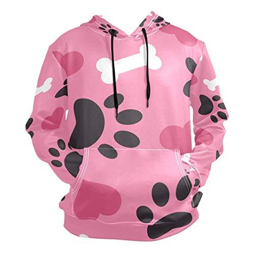 JIRT Herren Hoodies Sweatshirt Langarm Lovely Heart Bone Dog Paw Pullover Leicht mit Taschen -