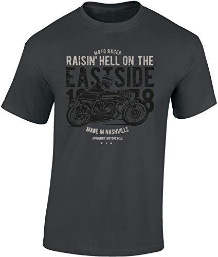 Camiseta: Raisin' Hell - Regalo Motero-s - T-Shirt Biker Hombre-s y Mujer-es - Motocicleta - Bike - Chopper - Moto Club - Anarchy - Motociclismo - Diabolo - Calavera - Motocross (Gris L)